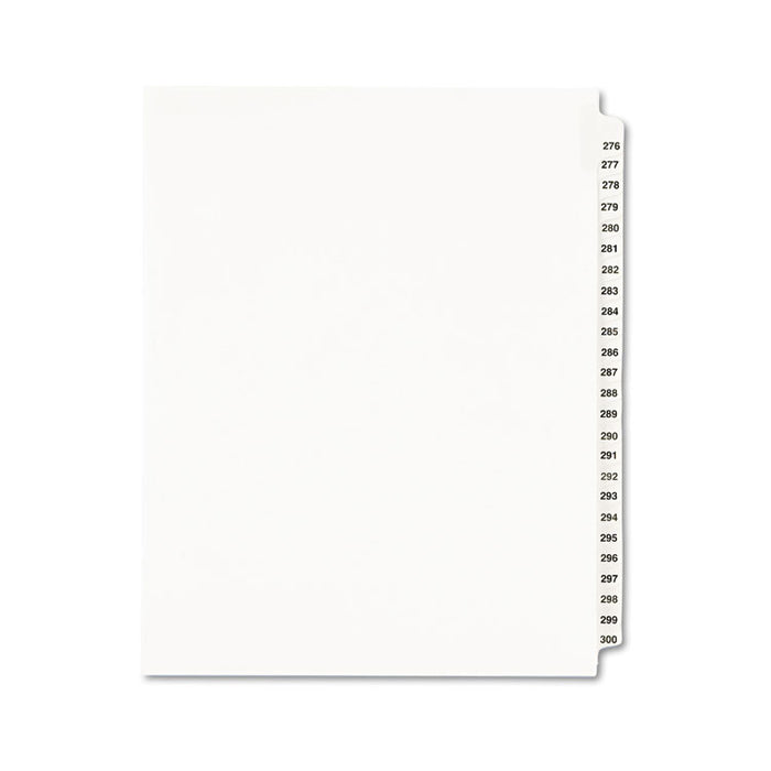 Preprinted Legal Exhibit Side Tab Index Dividers, Avery Style, 25-Tab, 276 to 300, 11 x 8.5, White, 1 Set