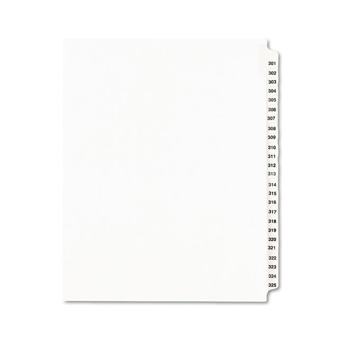 Preprinted Legal Exhibit Side Tab Index Dividers, Avery Style, 25-Tab, 301 to 325, 11 x 8.5, White, 1 Set