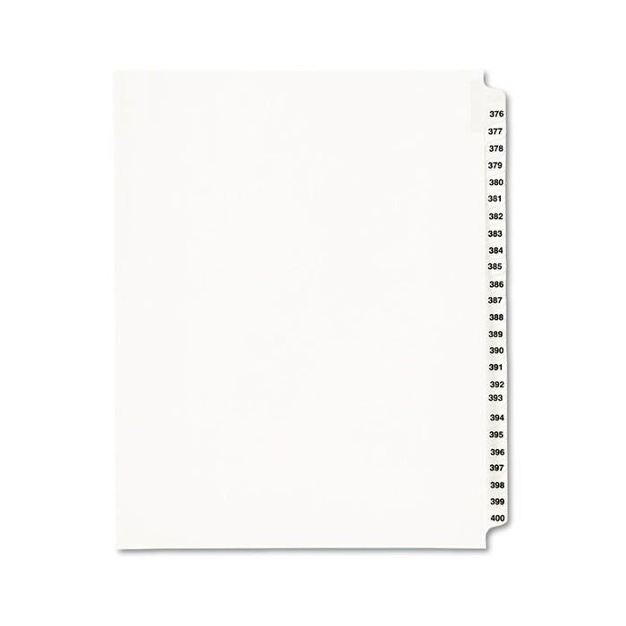 Preprinted Legal Exhibit Side Tab Index Dividers, Avery Style, 25-Tab, 376 to 400, 11 x 8.5, White, 1 Set