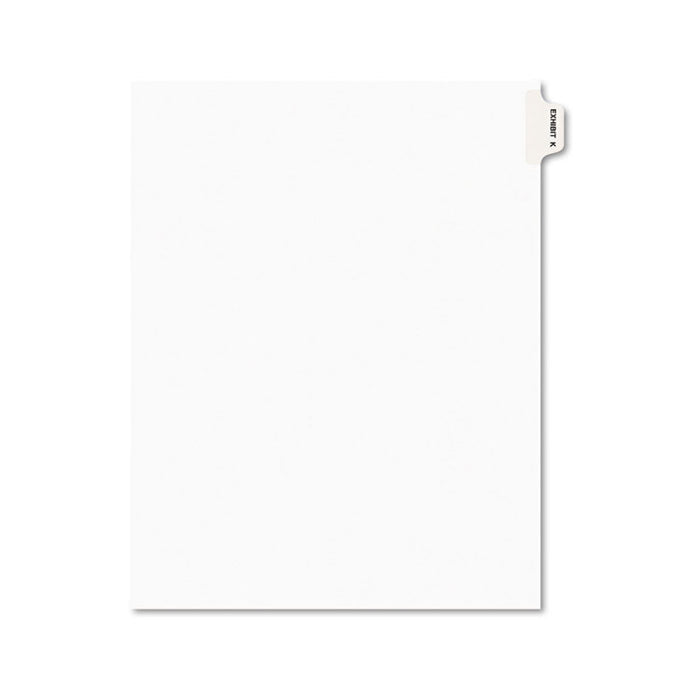 Avery-Style Preprinted Legal Side Tab Divider, Exhibit K, Letter, White, 25/Pack