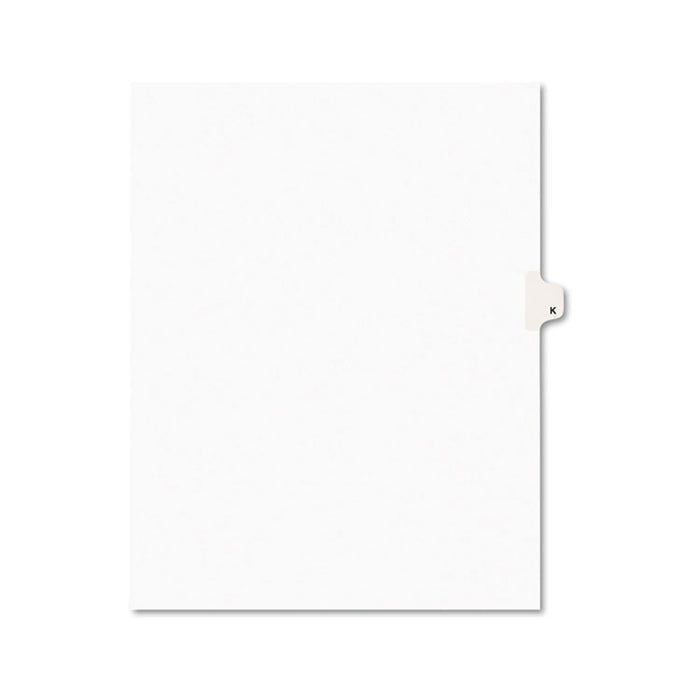 Preprinted Legal Exhibit Side Tab Index Dividers, Avery Style, 26-Tab, K, 11 x 8.5, White, 25/Pack