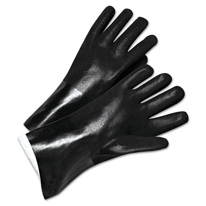 PVC-Coated Jersey-Lined Gloves, 14 in. Long, Black, Men's