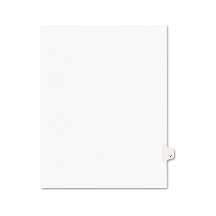Preprinted Legal Exhibit Side Tab Index Dividers, Avery Style, 26-Tab, V, 11 x 8.5, White, 25/Pack