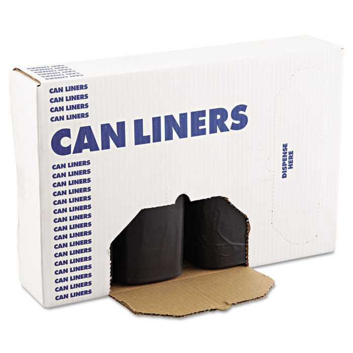 "High-Density Can Liners, 60 gal, 14 microns, 38"" x 58"", Black, 200/Carton"