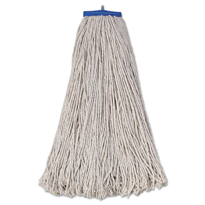 Mop Head, Economical Lie-Flat Head, Cotton Fiber, 32oz, White, 12/Carton