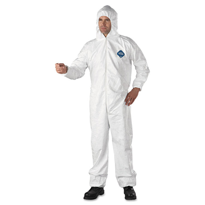 Tyvek Elastic-Cuff Hooded Coveralls, HD Polyethylene, White, 2X-Large, 25/Carton