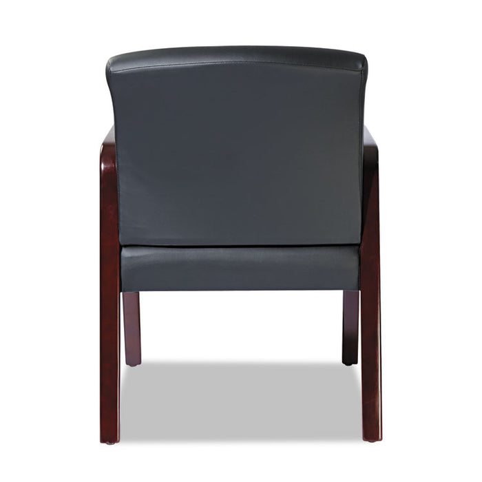 Alera Reception Lounge WL Series Guest Chair, 23.81'' x 25.37'' x 32.67'', Black Seat/Black Back, Mahogany Base