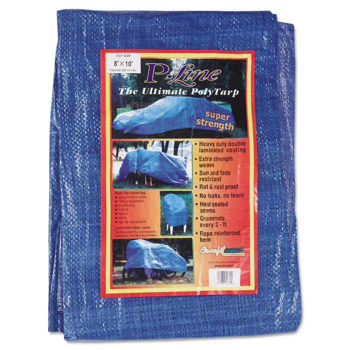 Multiple Use Tarpaulin, Polyethylene, 8 ft x 10 ft, Blue