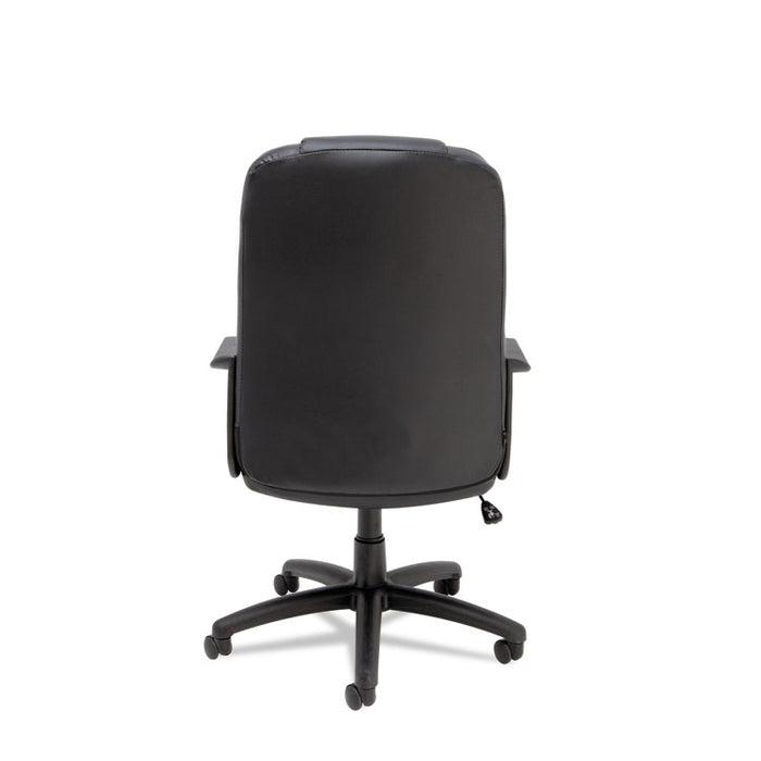 Sparis Executive High-Back Swivel/Tilt Leather Chair, Supports up to 275 lbs., Black Seat/Black Back, Black Base