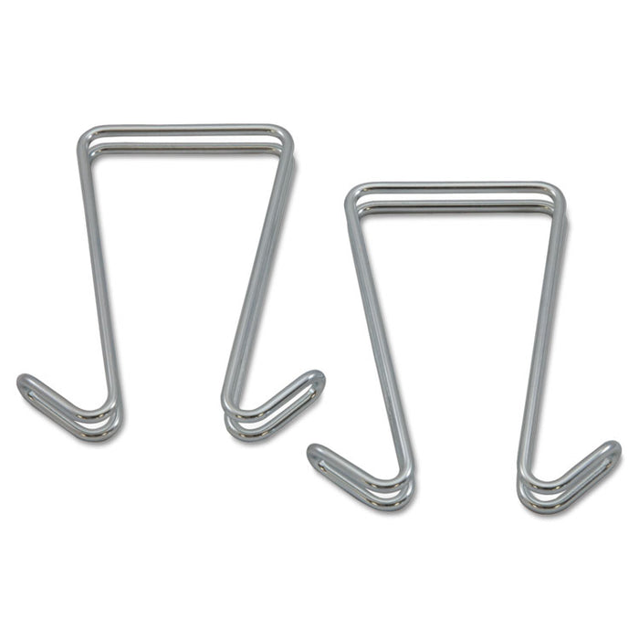 Double Sided Partition Garment Hook, Silver, Steel, 2/PK