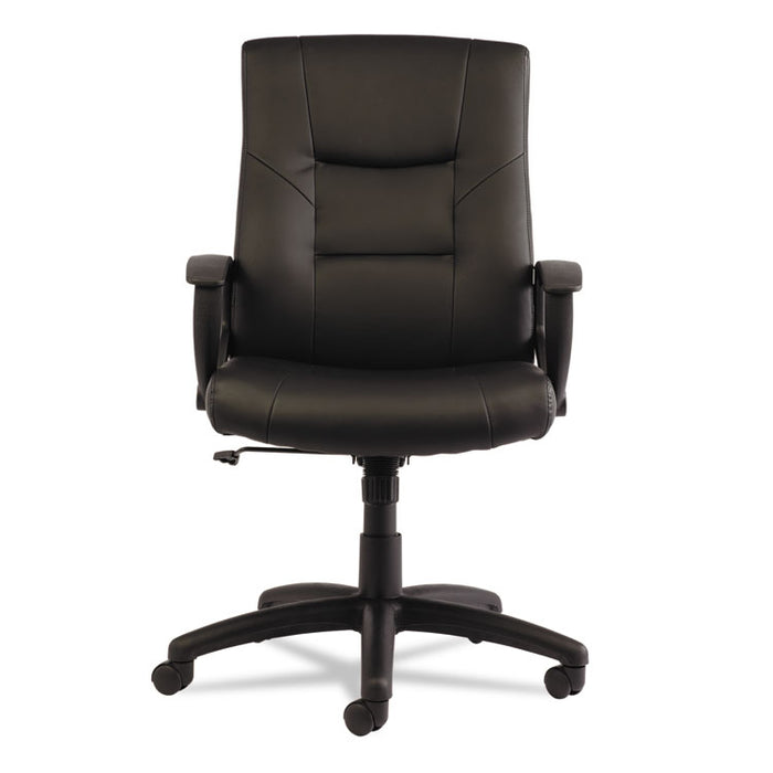 Alera YR Series Executive High-Back Swivel/Tilt Leather Chair, Supports up to 275 lbs., Black Seat/Black Back, Black Base