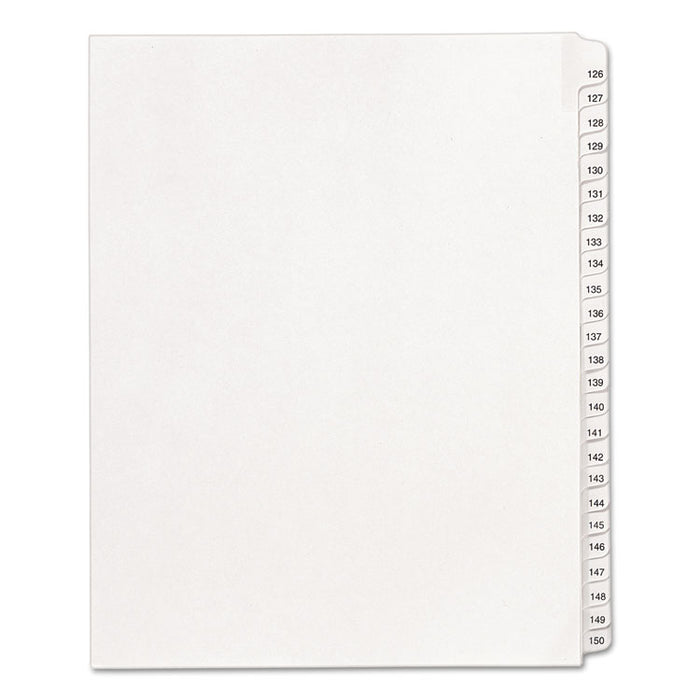 Preprinted Legal Exhibit Side Tab Index Dividers, Allstate Style, 25-Tab, 126 to 150, 11 x 8.5, White, 1 Set