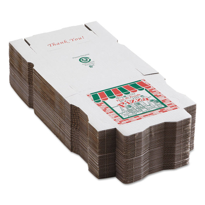 Corrugated Pizza Boxes, Kraft/White, 8 x 8, 50/Carton