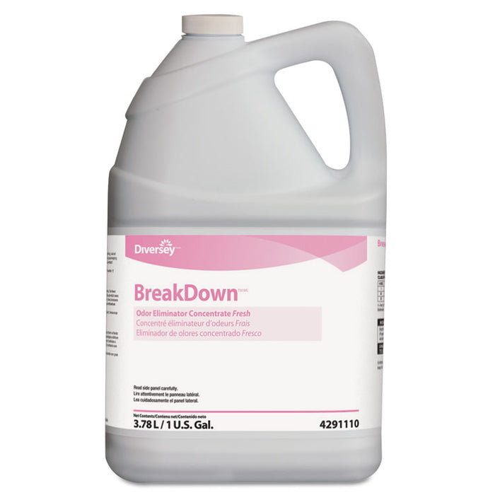 Breakdown Odor Eliminator, Fresh Scent, Liquid, 1 gal Bottle