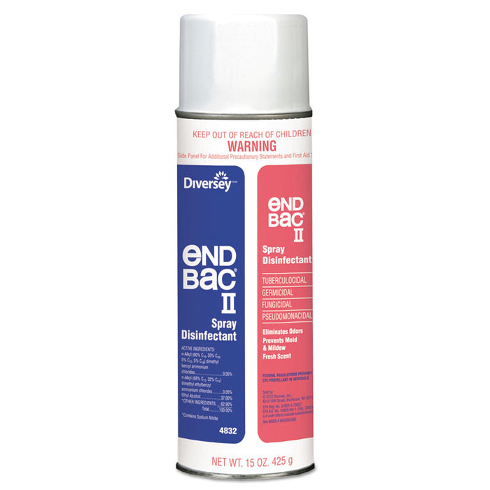 End Bac II Spray Disinfectant, Unscented, 15 oz Aerosol, 12/Carton