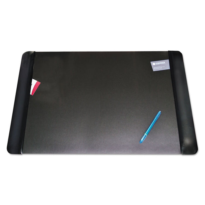 Executive Desk Pad with Antimicrobial Protection, Leather-Like Side Panels, 36 x 20, Black