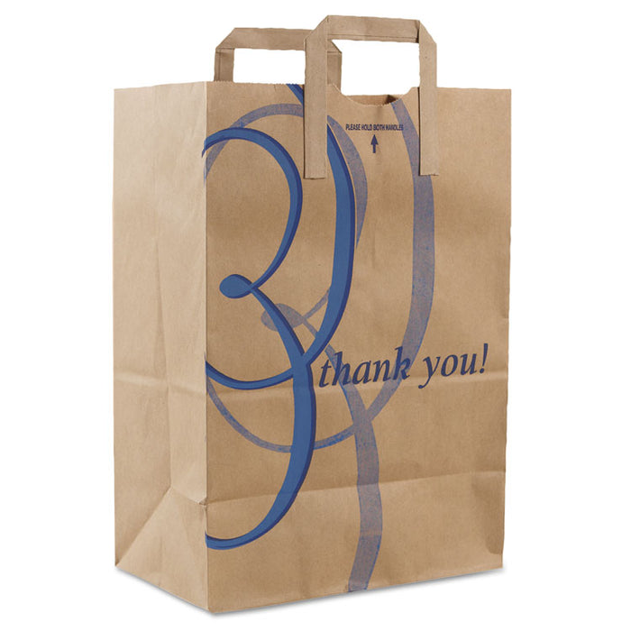 "Stock Thank You Handle Bags, 12"" x 17"", Brown, 300/Carton"