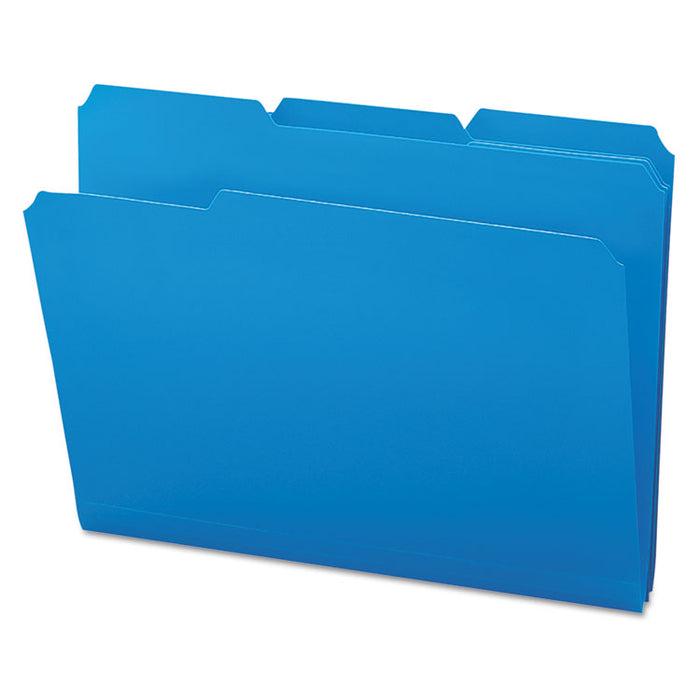 Top Tab Poly Colored File Folders, 1/3-Cut Tabs, Letter Size, Blue, 24/Box