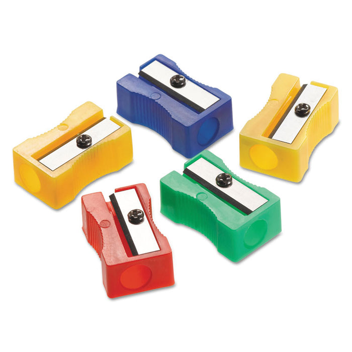 "One-Hole Manual Pencil Sharpeners, 4"" x 2"" x 1"", Assorted Colors, 24/Pack"