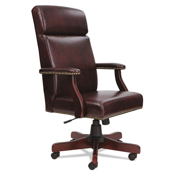 Alera Traditional Series High-Back Chair, Supports up to 275 lbs., Oxblood Burgundy Seat/Oxblood Burgundy Back, Mahogany Base
