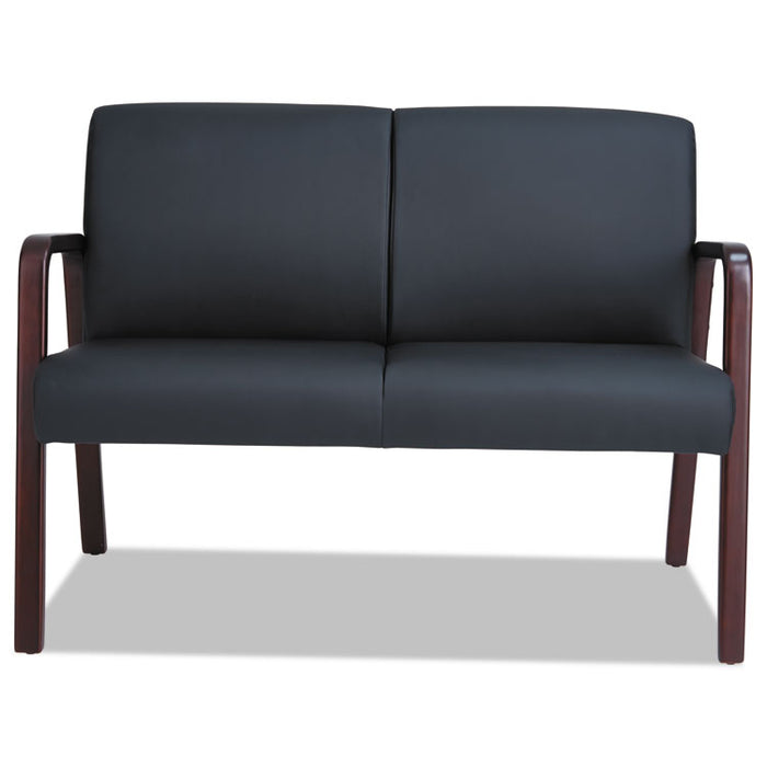 Alera Reception Lounge Series Wood Loveseat, 44.88w x 26.13d x 33h, Black/Mahogany
