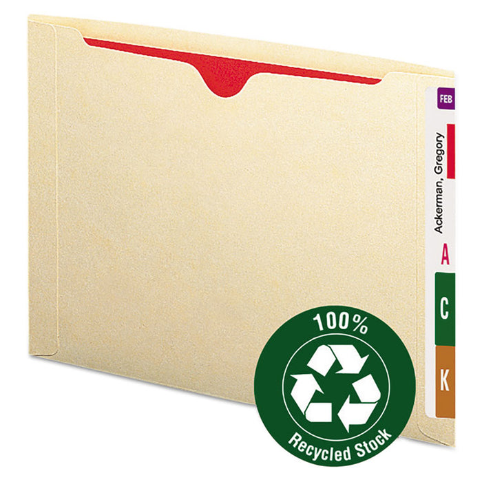100% Recycled End Tab Jackets, Straight Tab, Letter Size, Manila, 50/Box