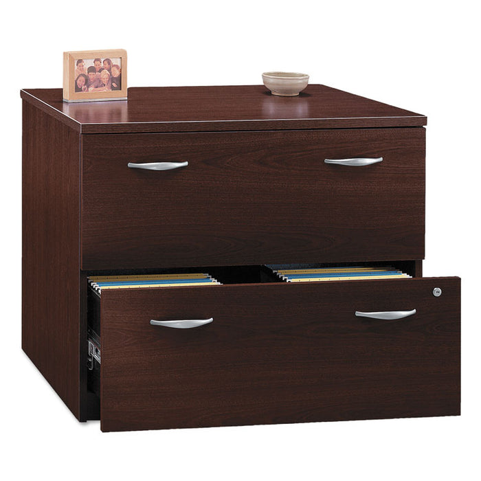 Series C Collection 2 Drawer 36W Lateral File (Assembled), 35.75w x 23.38d x 29.88h, Mahogany