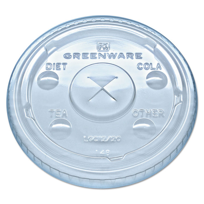 Greenware Cold Drink Lids, Fits 9, 12, 20 oz Cups, Clear, 1000/Carton