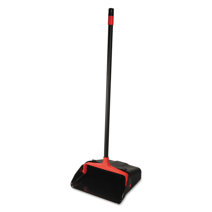 "Maxi-Plus Lobby Dust Pan with Rear Wheels, Black, 13""Wide, 30""Handle, 6/Carton"