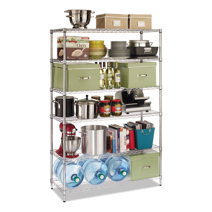 NSF Certified 6-Shelf Wire Shelving Kit, 48w x 18d x 72h, Silver