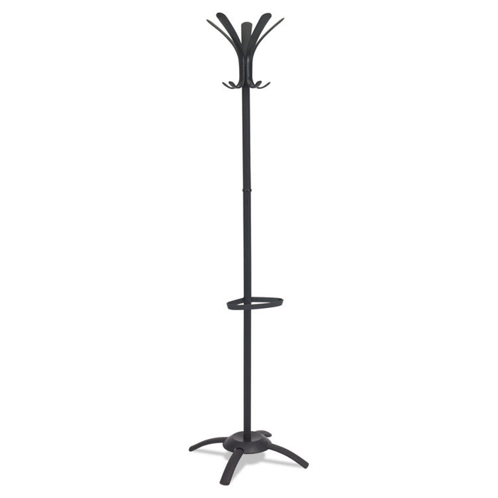 CLEO Coat Stand, Stand Alone Rack, Ten Knobs, Steel/Plastic, 19.75w x 19.75d x 68.9h, Black