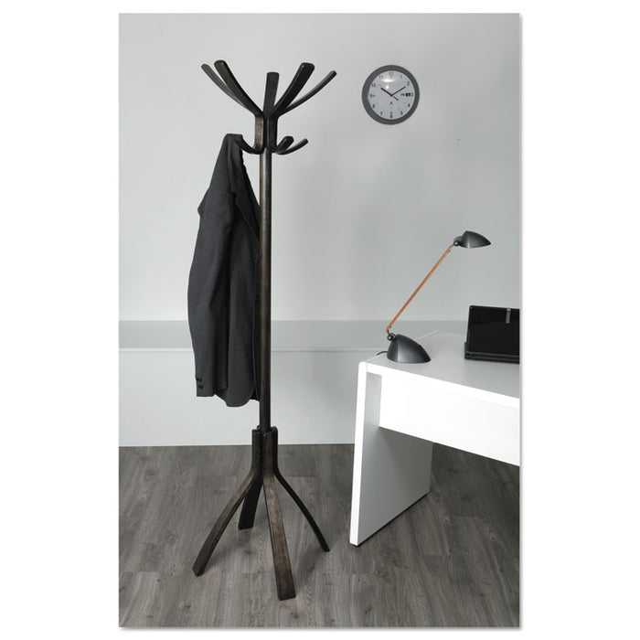 Café Wood Coat Stand, Ten Peg/Five Hook, 21.67w x 21.67d x 69.33h, Espresso Brown