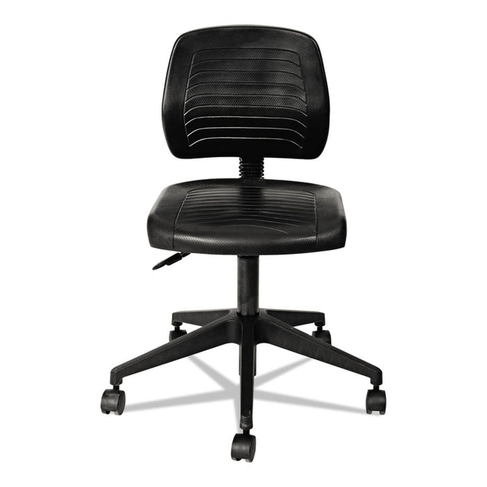 "Alera WL Series Workbench Stool, 25"" Seat Height, Supports up to 250 lbs., Black Seat/Black Back, Black Base"