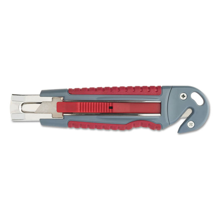 "Titanium Auto-Retract Utility Knife with Carton Slicer, Gray/Red, 3 1/2"" Blade"