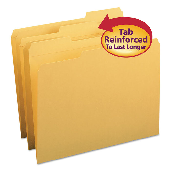 Reinforced Top Tab Colored File Folders, 1/3-Cut Tabs, Letter Size, Goldenrod, 100/Box
