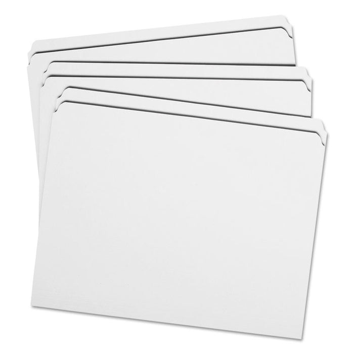 Reinforced Top Tab Colored File Folders, Straight Tab, Letter Size, White, 100/Box