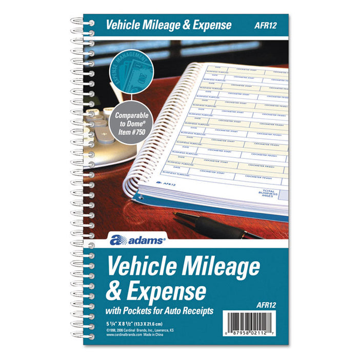Vehicle Mileage and Expense Book, 5 1/4 x 8 1/2, 49 Forms, 63 Pages