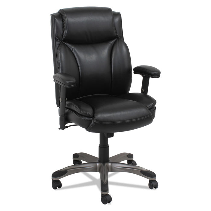 Alera Veon Series Leather Mid-Back Manager's Chair, Supports up to 275 lbs., Black Seat/Black Back, Graphite Base