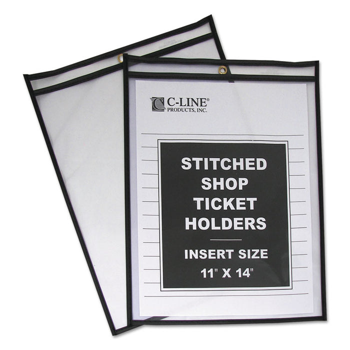 Shop Ticket Holders, Stitched, Both Sides Clear, 75 Sheets, 11 x 14, 25/Box