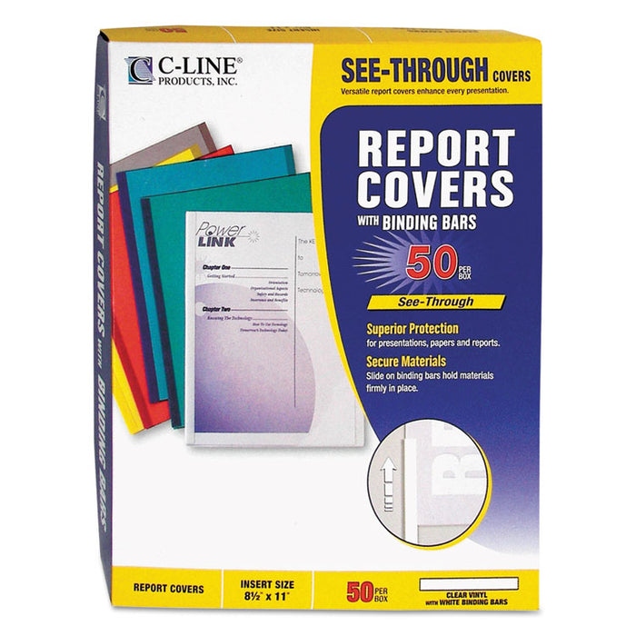 "Report Covers with Binding Bars, Vinyl, Clear, 1/8"" Capacity, 50/Box"