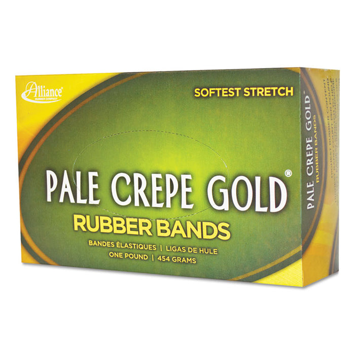 "Pale Crepe Gold Rubber Bands, Size 64, 0.04"" Gauge, Crepe, 1 lb Box, 490/Box"