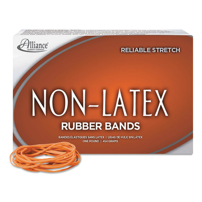 "Non-Latex Rubber Bands, Size 19, 0.04"" Gauge, Orange, 1 lb Box, 1,440/Box"