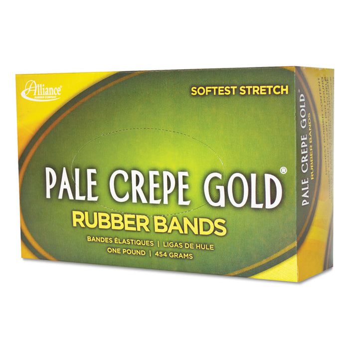 "Pale Crepe Gold Rubber Bands, Size 32, 0.04"" Gauge, Crepe, 1 lb Box, 1,100/Box"