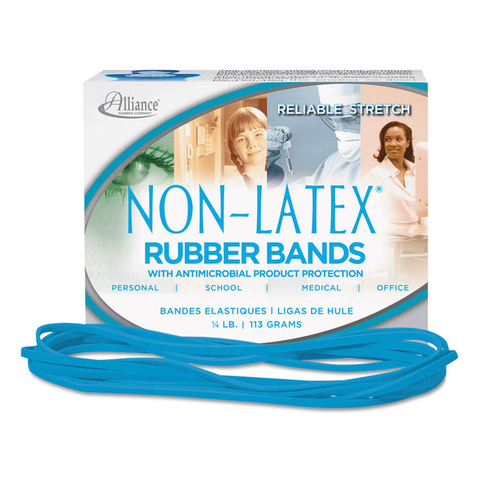 "Antimicrobial Non-Latex Rubber Bands, Size 117B, 0.06"" Gauge, Cyan Blue, 4 oz Box, 62/Box"