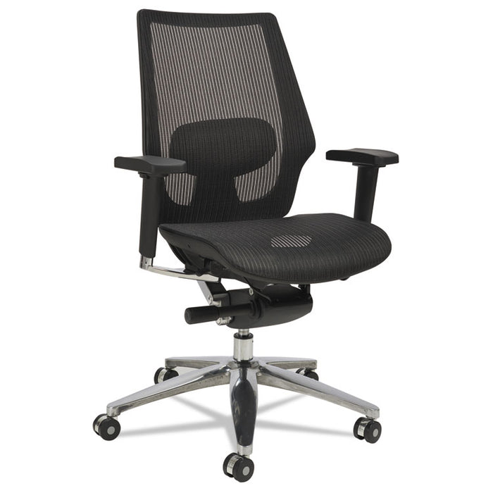 Alera K8 Series Ergonomic Multifunction Mesh Chair, Supports up to 275 lbs., Black Seat/Black Back, Aluminum Base