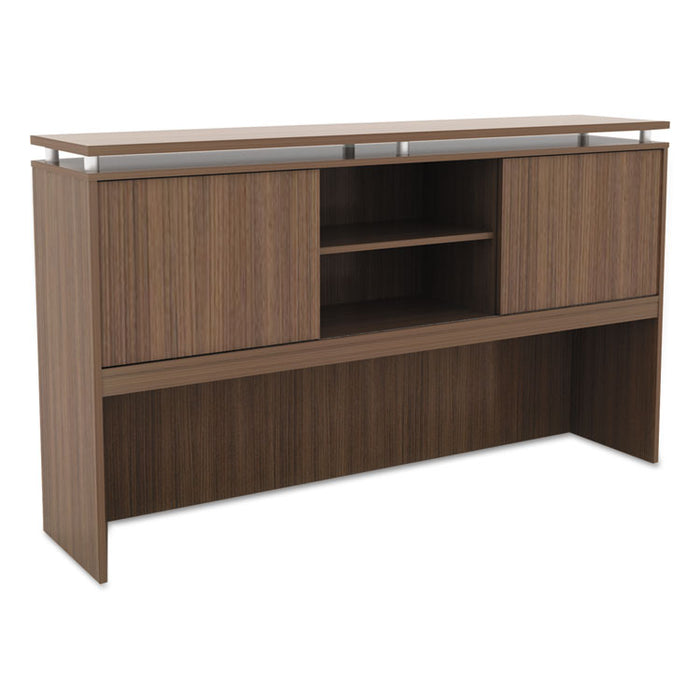 Alera Sedina Series Hutch with Sliding Doors, 66w x 15d x 42.5h, Modern Walnut
