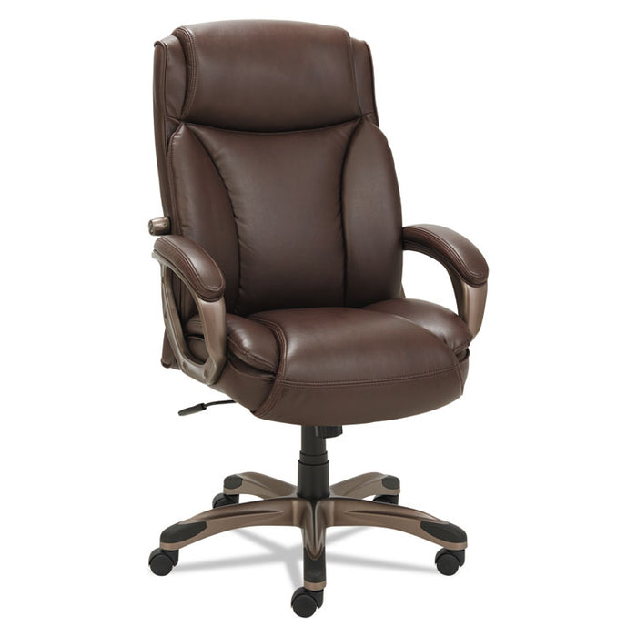 Alera Veon Series Executive High-Back Leather Chair, Supports up to 275 lbs., Brown Seat/Brown Back, Bronze Base