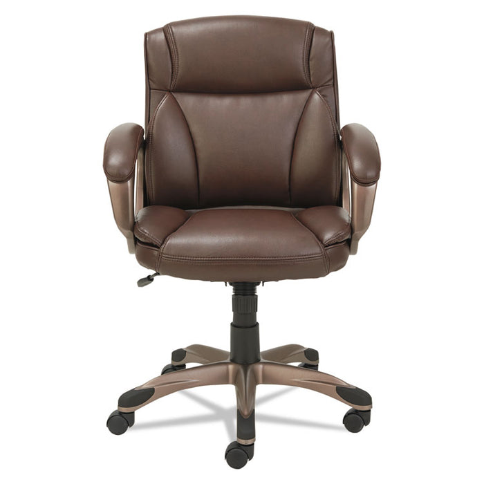 Alera Veon Series Low-Back Leather Task Chair, Supports up to 275 lbs., Brown Seat/Brown Back, Bronze Base