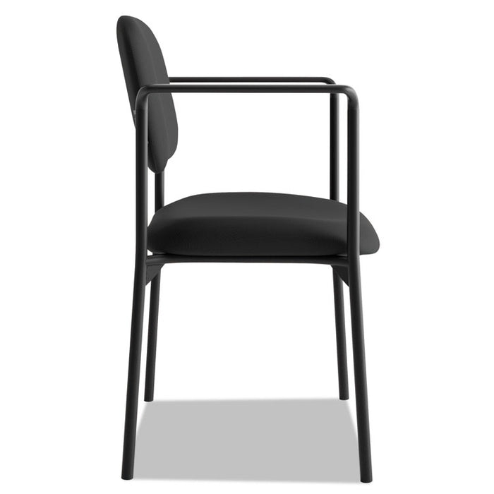 VL616 Stacking Guest Chair with Arms, Black Seat/Black Back, Black Base