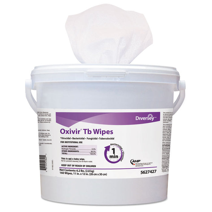 Oxivir TB Disinfectant Wipes, 6 x 7, White, 60/Canister, 12 Canisters/Carton